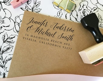 Two Full Names Return Address stamp, Self Inking Return Address Stamp, Address Stamp for Wedding Invitations, Simple, Calligraphy (T369)