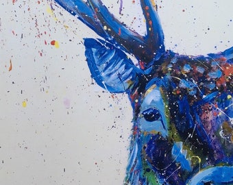 Contempary stag painting print, stag print