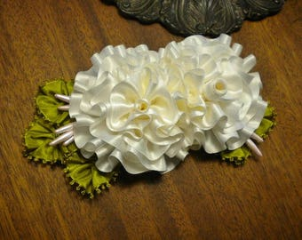White Roses Silk Ribbon Flowers Applique