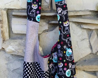 Sugar skull cats, day of the dead cats, hobo bag, across the body bag, slouch bag, boho bag, handbag, purse