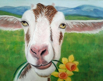 Goat Painting Goat and Flowers Art Farm Animal Art Goat Lover Whimsical Goat Art Kid's Decor Kitchen Decor Goat Oil Painting Karen Snider