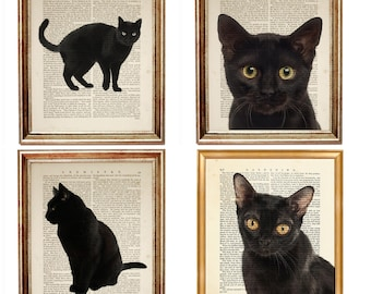Set of 4 Prints Cat Lover Gift, Black Cat Print, Black Cats Dictionary Art Print, Black Cat Art Artworks Nursery Room Wall Decor Posters