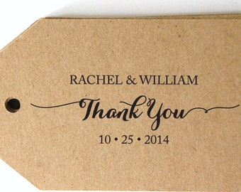 Thank You CUSTOM ADDRESS STAMP, personalized pre inked stamp, thank you card, favor tag, calligraphy address stamp & proof - Stamp b5-55