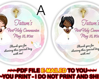 First Holy Communion, Thank you sticker, 1st Holy Communion, Communion Gift Tag, 1st Communion, Thank You Tag - FIRSTCOM2