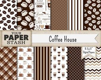 Coffee Digital Paper, Coffee Scrapbook Papers, Cup of Joe, Java, Coffee Bean, Coffee Background, Latte, Mocha, Chevrons, Commercial Use