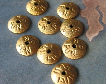 6 PC Novelty Brass Bead Cap / Brass stamping -  Q0264