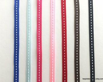 """5Y Grosgrain Stitch Saddle Ribbon 1/4"""""""