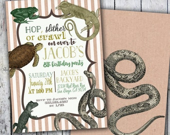 Vintage Reptile Animal Party Invitations Printable Invitation and Printing available Fast Turnaround