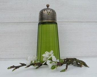 French Vintage Green Glass Sugar Shaker. Vintage Condiments. Vintage Tableware. Vintage Dining. French Dining. Vintage Tableware