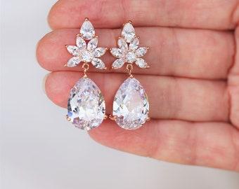 ON SALE  Set of 3,4,5 Rose Gold Bridesmaid Earrings ,Art Deco Earrings, Crystal Teardrop Earrings, Bridal Earrings, Wedding Earrings