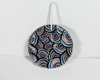 Pendentif rond, spirale Cane pendentif, pendentif multicolore, Polymer Clay pendentif, bijoux fournitures, cercles