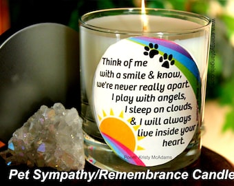 Pet Sympathy Rainbow Candle - Think of Me remembrance Sympathy Gift, Condolence Gift, Pet, Memorial Candle, Dog, Candle, Rainbow Bridge