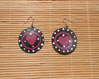 Heart recycled bottle cap earrings
