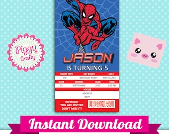 Spiderman 02 Invitation Ticket Editable Text in PowerPoint English and Spanish