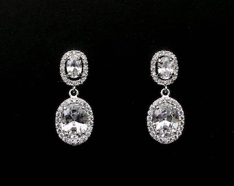 bridal wedding earrings jewelry bridesmaid gift prom christmas party earrings Clear white oval cubic zirconia rhodium post with oval cz drop