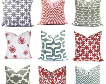 15% Off Sale PILLOWS  Coral Pillow Cover Gray Pillow, Pillow Cover, Decorative Pillow, Throw pillow Coral Pillow , Grey pillow, Damask