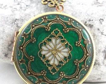 Green Filigree Brass Locket, Filigree Diamond Locket, Photo Locket, Mothers Day Gift For Her,  Wedding Locket Picture Locket