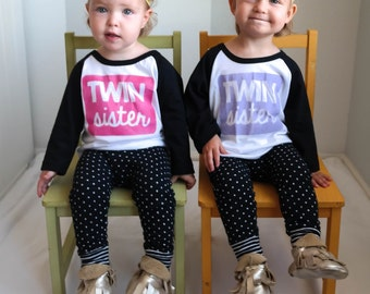 Twin Sister Shirt - Twin Outfit - Twin Announcement - Twin Gift - Baby Shower Gift - Twins