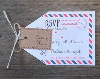 10 x Wedding Abroad RSVP Luggage Tags Airmail Personalised Handmade Invitation