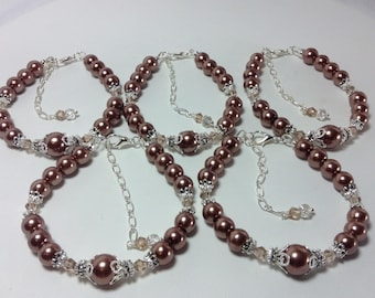 Brown Pearl Bridesmaid Bracelet
