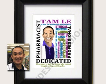 Personalized Caricature from Photo, Pharmacist Gift, Pharmacist graduation gift, Medical Pharmacist gift, Pharmacist Appreciation Gift