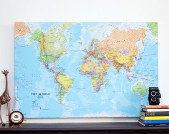 World map canvas etsy canvas political world map print wall map free shipping gift for him gumiabroncs Images