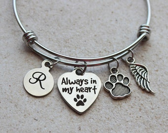 Always in my Heart Animal Memorial Bracelet - Pet Loss Gifts, Pet Memorial Gifts, Dog Memorial Gifts, Dog Loss Gifts, Dog Loss, Pet Loss
