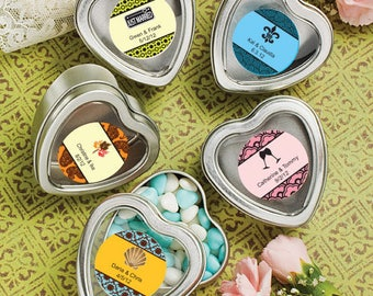 50  Personalized Heart Shaped Boxes / Mint Tins - Set of 50