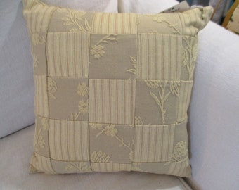 30038~ Reversible Floral and Ticking Accent Pillow