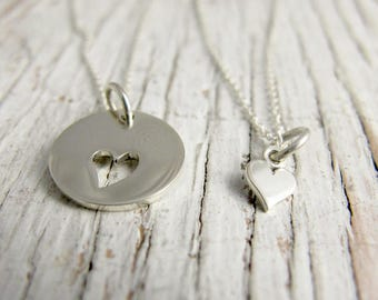 Mother Daughter Necklace, Heart Cutout, I carry your heart with me, Tiny Heart, Sterling Silver, Mother's Day Gift, READY TO SHIP