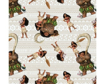 Disney MOANA, Moana and Friends on white, cotton fabric, 1 Yard