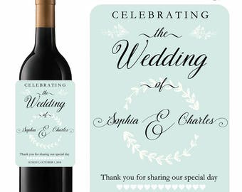 Personalized Wedding Wine Labels Something Blue Designer Labels In Waterproof Vinyl