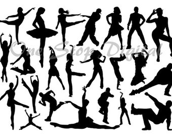 Instant Download Digital Dancers Silhouettes Ballet Dancer Clip Art Ballerina Silhouettes Break Dancing Silhouettes Dancer Clipart 0277