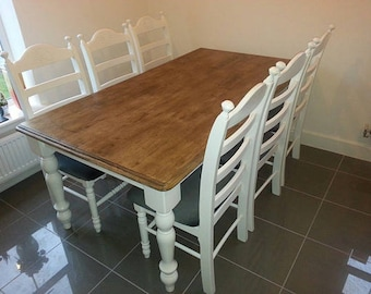 Bespoke 6ft x 3ft Table and Chair Set - White/Cream/Grey/Off White Finish