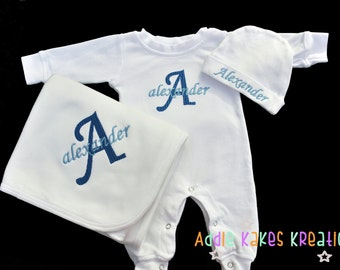 Personalized Baby Sleeper, Hat and Blanket Combo with Name and Initial / Girl or Boy Colors