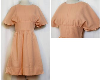 Peach 60s Dolman Sleeve Dress