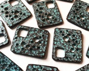 25 x 22mm Verdigris Copper Patina Textured Rectangle Pendant Set of 6