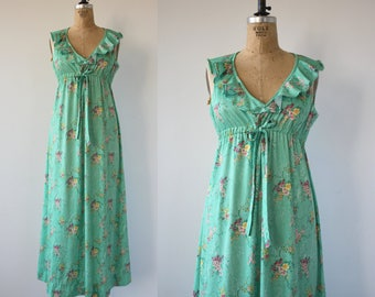 vintage 1970s dress / 70s maxi dress / 70s green floral print dress / 70s empire waist dress / 70s boho maxi dress / medium