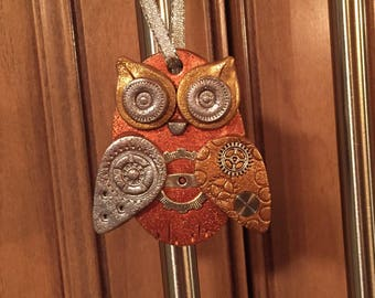 Steampunk Owl Holiday Ornament - Industrial Style Bird Animal Mixed Media Decor style 17