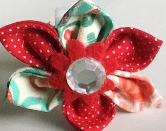 Aqua & Red Floral  Flower for Dog and Cat Collar