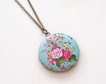 Floral  Locket, Aqua Turquoise Floral Brass Art Locket Necklace, Flower Locket, Bridal Locket, Round Locket Gift for Her, Mother's Day