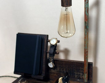 Docking Station, nightstand organizer, iphone, ipad, charging station, Birthday Gift For Him, gift for her, docking station with Edison bulb