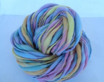 Handspun merino yarn, thick and thin yarn, PASTEL, super bulky yarn, dolls hair, dreads, hairfalls, pastel, 3.5oz/60yds, 100g/55m, 100% wool