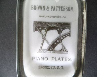 1882  Brooklyn N.Y. Glass Advertising PAPERWEIGHT, Piano Plates Company