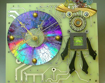 Recycled CIRCUIT BOARD Geek CLOCK Vintage Millefiori Bad Hair Day