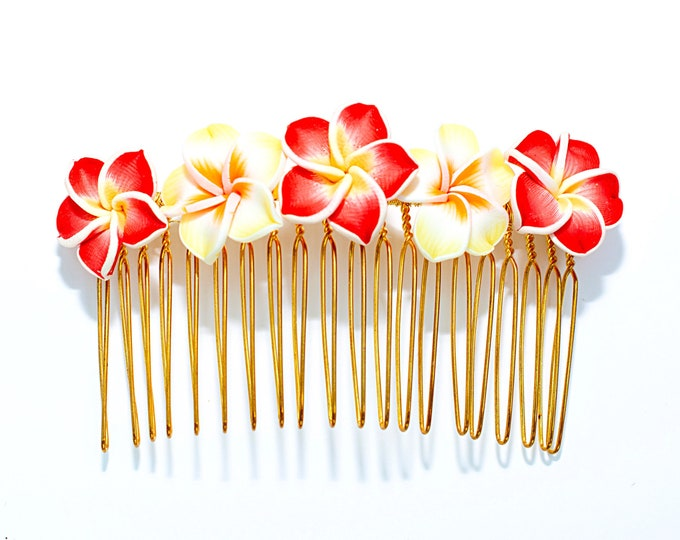 Featured listing image: Hawaiian Plumeria Decorative Hair Comb Yellow and Red