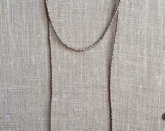 Double wrap Bronze metallic costed necklace, wrap beaded necklace, Long beaded necklace