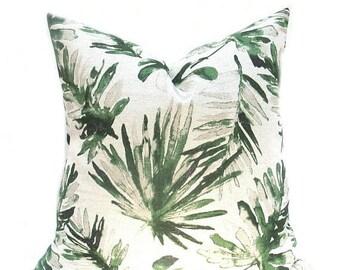 15% Off Sale Green Pillow , Green Tan Pillow, Leaf Pillow, Bahama Pillow, Green Throw Pillow, Green Pillow Cover, Green accent pillow, Green