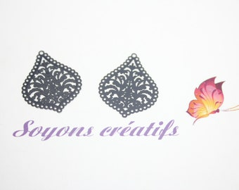 Set of 2 prints charms drop black 21x25mm - making and Premium European quality.
