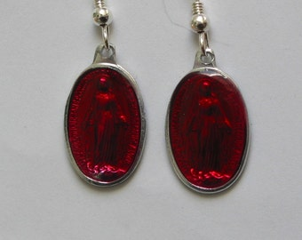 Red Immaculate Conception of Mary Sterling silver oval Enamel Earrings Religious Medal Imported from France